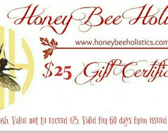 Honey Bee Holistics Gift Certificate / Emailed to your Gift Recipient - E-Certificate Gift Card