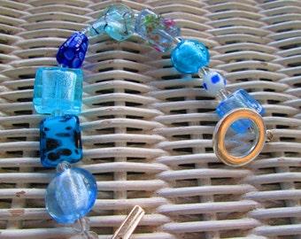 224  Blue glass handmade beaded bracelet