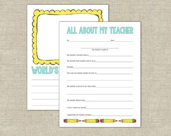 All about my teacher classroom gift, World's Goodest Teacher award, writing prompt