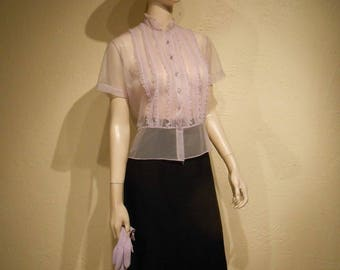 Lonesome Lilacs - Vintage 1950s Sheer Pink Lilac Nylon Ruffle & Rhinestone Button Blouse - 4/6