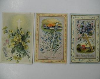 vintage postcards, old Easter postcards, vintage Easter postcards, cross postcards, religious postcards