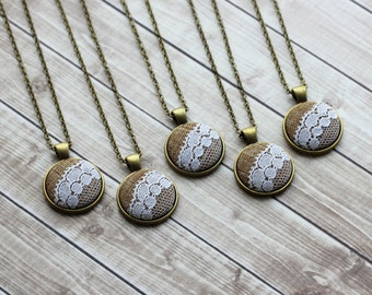 Set of 5 Bridesmaid Necklaces With Burlap And Lace, Rustic Wedding Gift, Small Pendants, Unique Bridal Jewelry