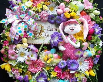Lg. Easter Bunny Wreath  Annalee Sign Easter Basket Butterfly
