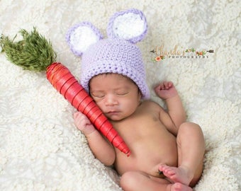 Baby Bunny Hat Ears - Newborn Bunny Beanie -  purple and white rabbit hat- Bunny Photo Prop - Sitter Set - Easter White