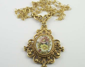 Vintage Florenza Hand Painted Flower Bouquet Filigree Necklace Gold Tone  Victorian Revival