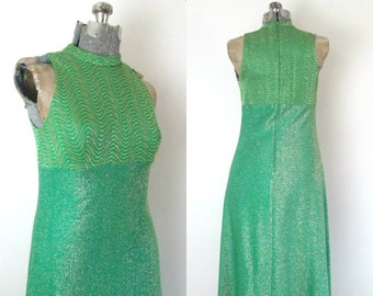 Green Gold Lame Maxi Dress Vintage 1970s Chic Holiday Fashion
