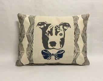 Decorative Pit Bull Pillow, Pit Bull Face Pillow, Pit Bill Print Pillow, dog print pillow, dog block print, kidney pillow, decorative accent
