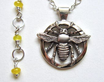 Bee Pendant, Realistic Insect, Gift for Women, Unique, Handmade, Silver, Yellow, Nature Lover, Empowerment, Detailed