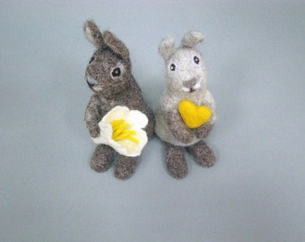 Two needle felted rabbits table and home decor wedding supplies Easter accessory