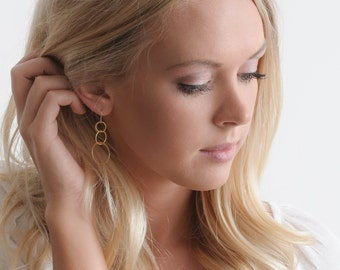 Gold Loop Earrings, 14K gold dangle earring, three tiered, birthday jewelry, bridesmaids gifts, sister presents mothers day gift guide LINDA