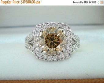 ON SALE 3.27 Carat Fancy Champagne Brown Diamond Engagement Ring, Platinum Wedding Ring Vintage Style Hand Engraved Certified Handmade Uniqu