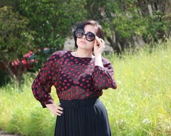 Vintage 80's Secretary Sheer Cherry Blossom Print Dress wirh Pleated Skirt