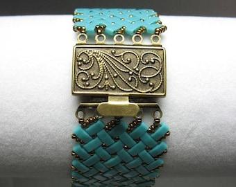 Turquoise and Bronze Glass Japanese Tila Bead Bracelet Herringbone Stitched