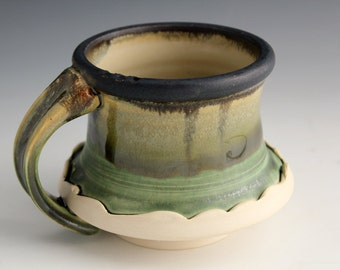 Moss Green and Matte Black Ceramic Mugs