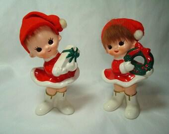 1962 ARDCO Fine Quality Ceramic Girl Elves with Stocking Cpas.