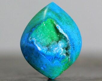 Crystal Druzy Setting Stone Bead Natural Drusy Quartz Bezel Edge Flat Back Gemstone Rock Lovers (20273)