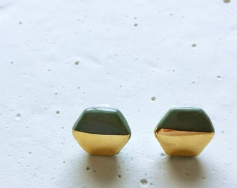 Gold Dipped Earrings in Evergreen