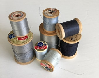 Vintage Wooden Spools Pewter Charcoal Gray Hues Thread Lot (1)