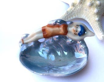 Antique Diving Bathing Beauty Pin Dish Flapper Swimmer