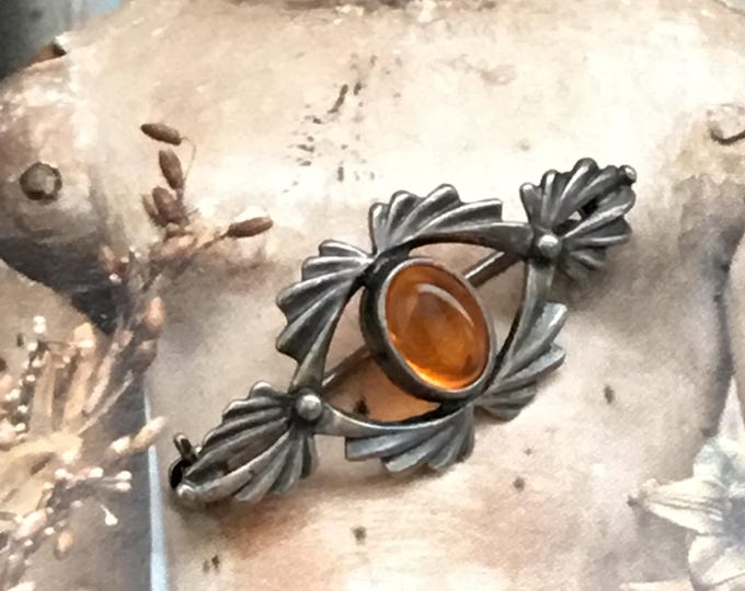 Amber Pin Sterling Silver Vintage Brooch