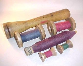 6 Wood Textile Thread Spools