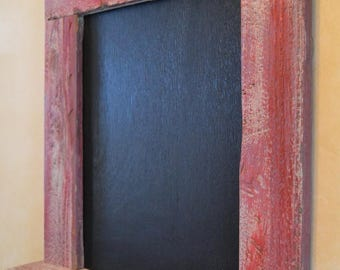 Rustic Chalkboard Organizer, Message Center, Key Holder, Entryway Organizer, Farmhouse Chalkboard, Salvaged Wood Organizer, Old Barn Red