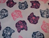 Pink and navy realistic line drawing cat faces print flannel pajama pants lounge dorm made to order your choice size XS - 2X