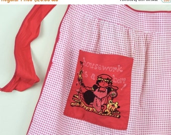 20% OFF SALE housework is a bore, funny vintage cotton Half Apron - kitchen linen - red + white gingham, french maid, novelty, silly - house