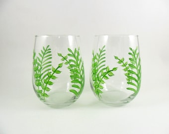 Stemless Wine Glasses Hand Painted Ferns Set of 2