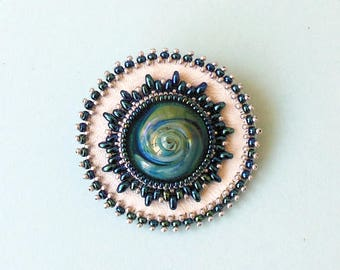 Blue Green Handmade Artisan Lampwork brooch Embroidered Pin Pendant Glass Cabochon ,Embroidered Beads