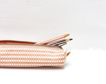 Blush Orange Pencil Case, Cotton Zipper Pouch, Small Cosmetic Case