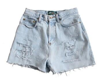 50% half off sale // Vintage 90s Destroyed American Eagle Off Denim Shorts Women S M