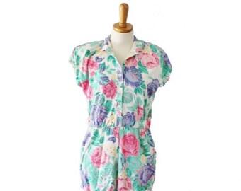 60% off sale // Vintage 80s Floral One Piece Romper Jumper - Women Medium Large - Gitano