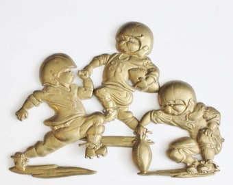 60% off sale // Vintage 80s Football Player Wall Hangings - Cast Metal - Set of 3 - Childrens Room Decor