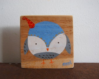 Party Hat Owl Sign in Reclaimed Wood - Rustic Children's Room Artwork - Handpainted Original Nursery Art - Blue, Gray and White