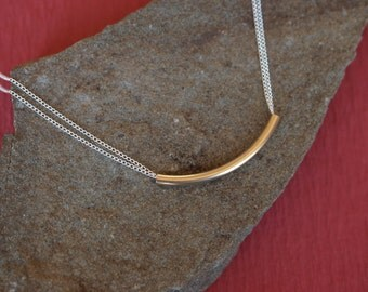 Mixed Metals Gold Tube Necklace