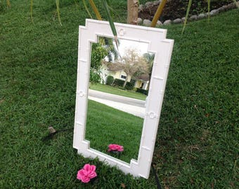 FAUX BAMBOO Omega Mirror Hollywood Regency Chinese Chippendale On Sale Palm Beach Style On SALE at Retro Daisy Girl