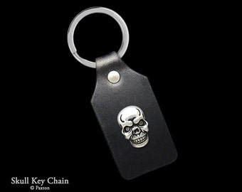 Skull Keychain / Keyring Sterling Silver Skull on Genuine Leather Key Fob