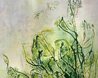 The Tangle  abstract art, original art, landscape, tan, green, surreal, paul harrington