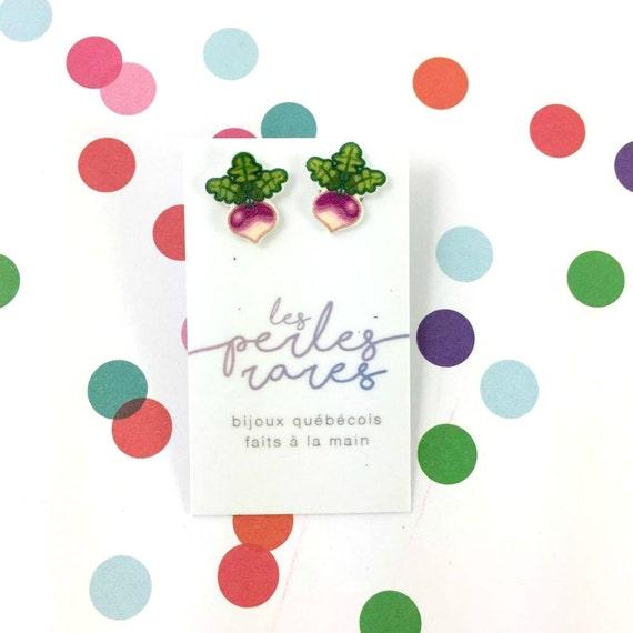 Small, pink, white, green, radish, veggies, vegetable, earrings, light, hypoallergenic, plastic, stainless stud, handmade, les perles rares
