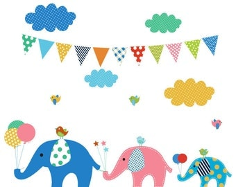 Gender neutral Elephant wall clings, gender neutral elephant decals, nursery decal elephant, baby flag decals, toddler playroom decals