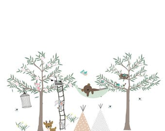 gender neutral wall decals ,teepee wall decals, boy girl twin wall decals, hammock tree wall decal, teepee tree decal, woodland tree decals,