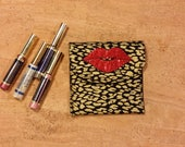 Lipstick, Lip gloss pouch, holder for LipSense, custom made, black with gold, holds 5-6 lipsticks, great down line gift
