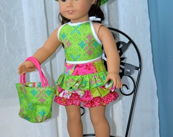 18 Inch Doll Clothes Four Piece Outfit Ruffled Miniskirt, Reversible Halter Top, Bucket Hat and Totebag by SEWSWEETDAISY
