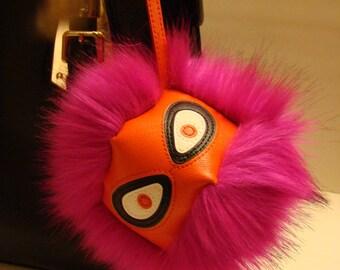 Faux Fur Monster Pom Pom Keychain Purse Pendant Bag Accessory Backpack Charm Fur Pompom