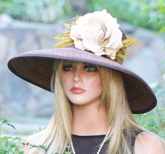 Wide Brim Brown Hat. Wedding Hat, Church Hat, Derby Hat, Brown Formal Hat, Women's Straw Hat, summer hat, tea party hat dressy hat event hat