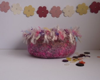 FELTED 'FUSSPOT' BOWL  .  ' Bouquet '  (  pink / purple blend  with silky fringe) ...ready to ship...