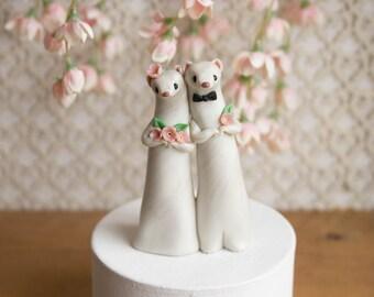 Weasel Wedding - Ermine Wedding Cake Topper by Bonjour Poupette