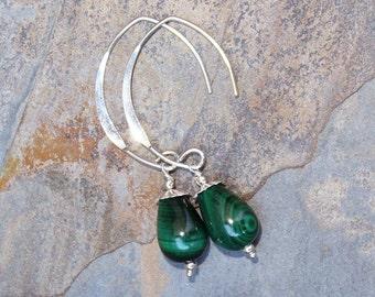 Malachite Earrings, Sterling Silver Earrings, Natural Stone Earrings, Green Earrings, Gemstone Earrings, Handmade Earring, Malachite Jewelry
