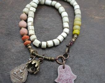 Bodhicitta - Rustic Wrap - Short Necklace - Choker - Brass ethnic Bell -  Buddha Charm - Trade Beads